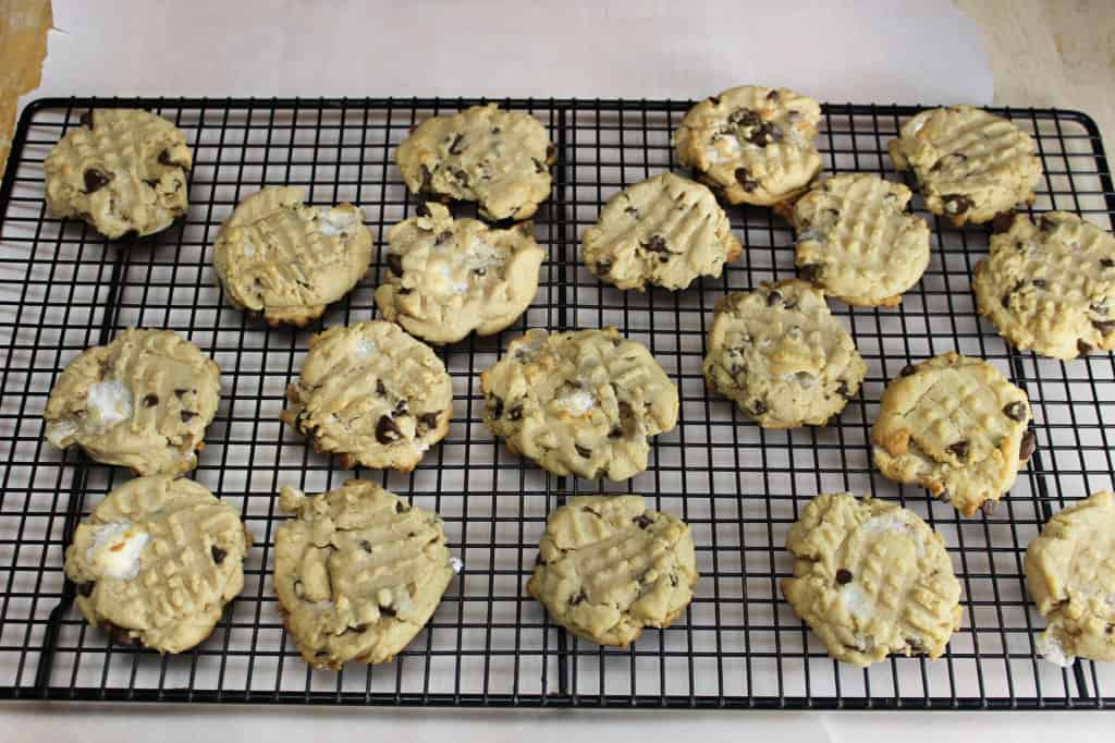 PB marshmallow chip cookies cooling