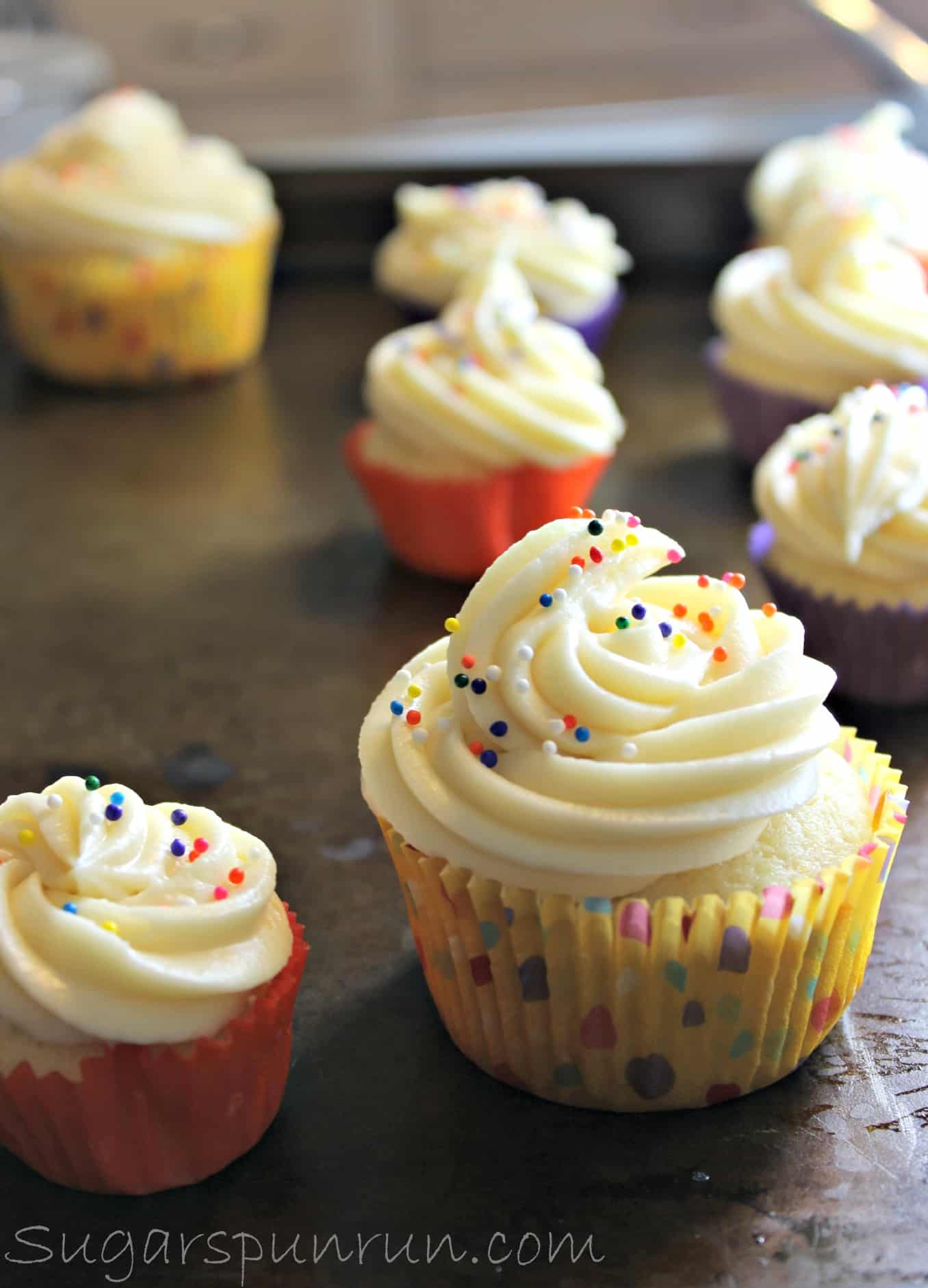 Perfect Homemade Vanilla Cupcakes With Caramel Flavored Icing