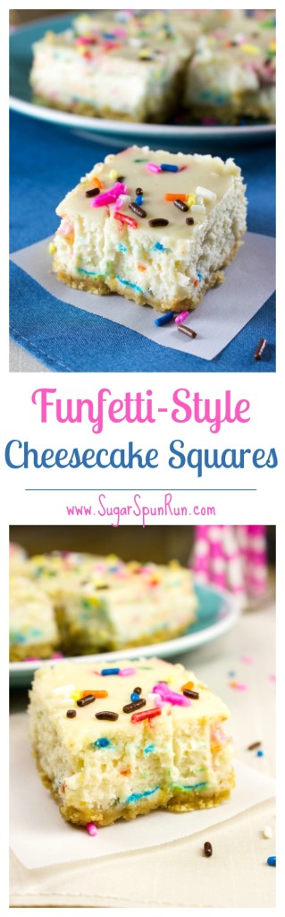 Funfetti Cheesecake Squares--these are actually very easy to make! SugarSpunRun