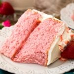 pink strawberry cake on white plate