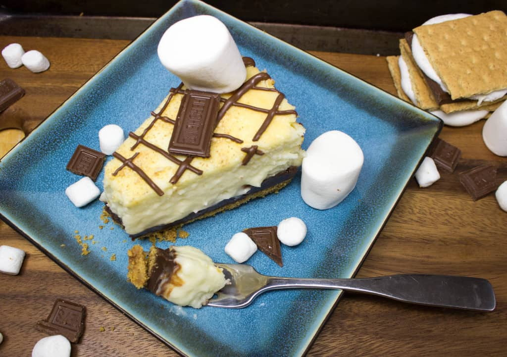 overhead view of S'mores Cheesecake slice on plate