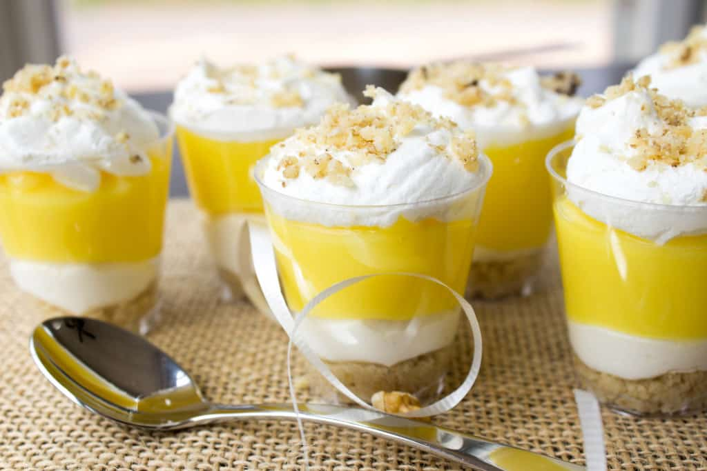 Lemon Lush Dessert in shot glasses