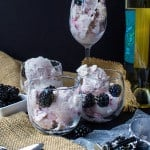 moscato ice cream with blackberries in various glasses