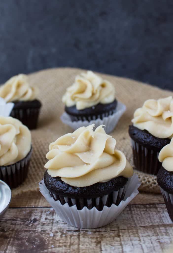 Dark chocolate mini cupcake with salted caramel frosting-12