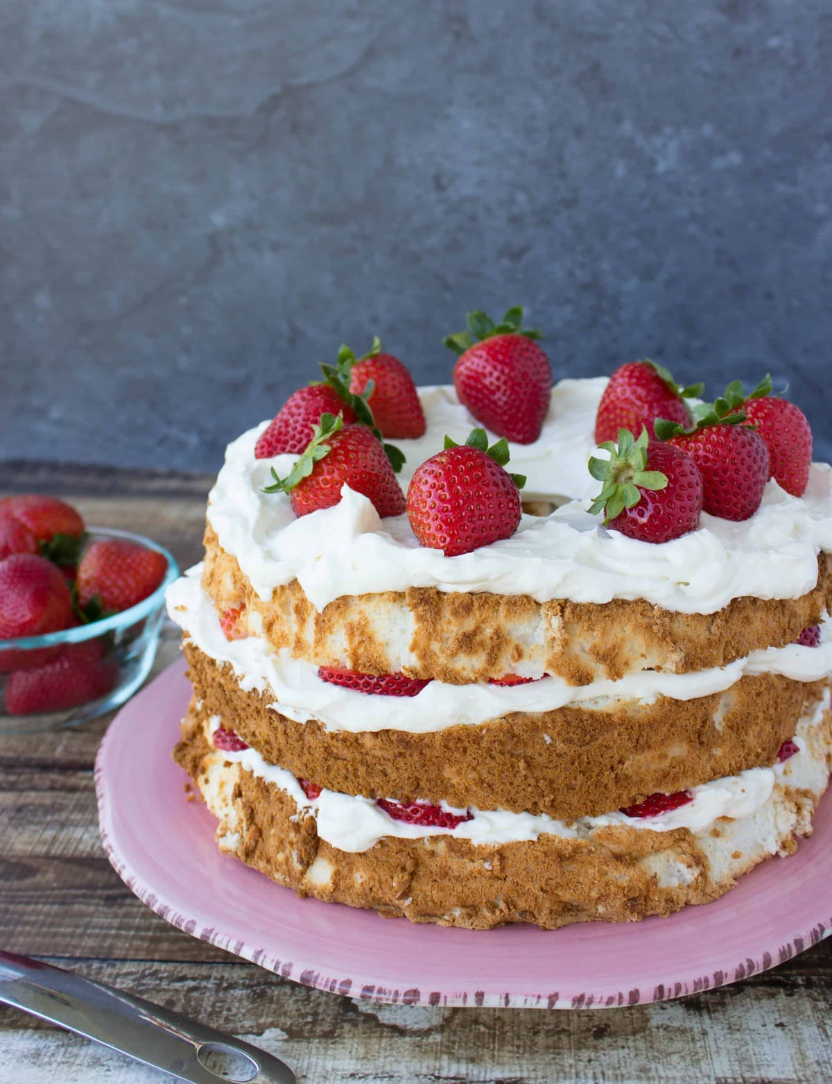 Strawberry lemon layered angel food cake sugar spun run lemon layered angel food cake forumfinder Choice Image