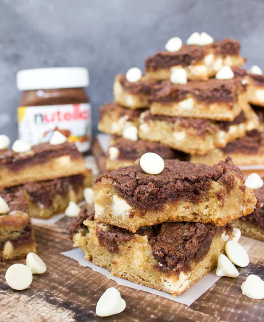 Nutella Cheesecake Blondies-4