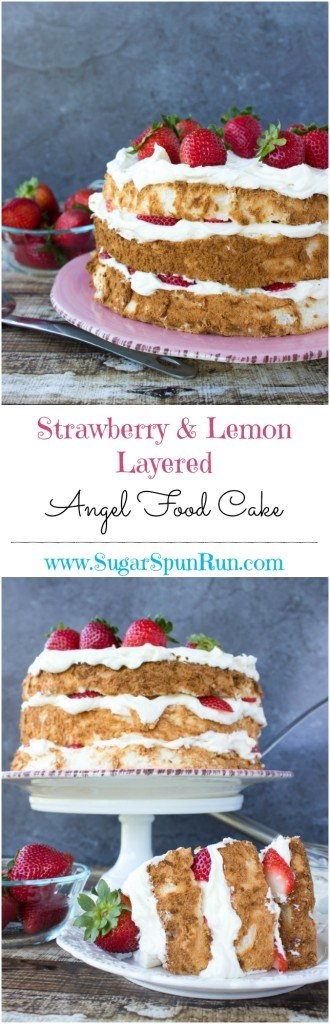 Strawberry & lemon layered angel food cake  SugarSpunRun