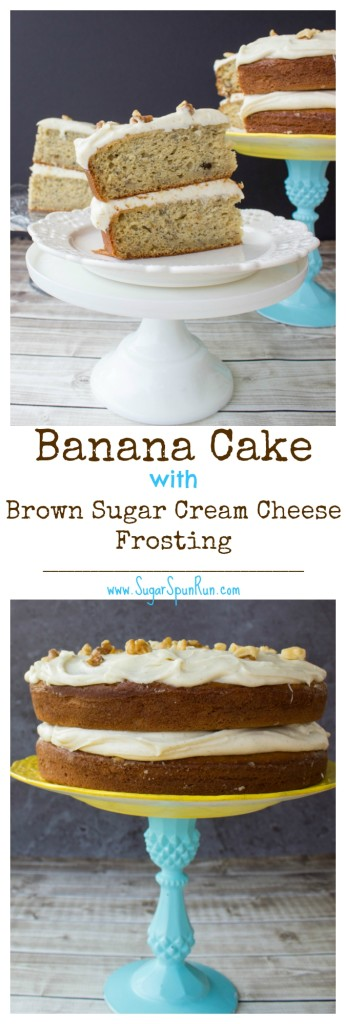 Super soft, moist banana cake with brown sugar cream cheese frosting  SugarSpunRun