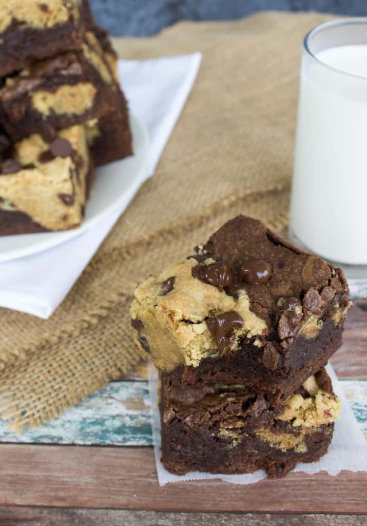 Chocolate Chip Cookie Brownies--Ridiculously fudgy, delicious brownies made with chocolate chip cookie bar bits throughout