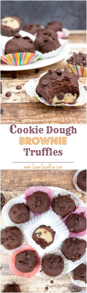 Cookie Dough Brownie Truffles--made with raw (egg-free) cookie dough from SugarSpunRun