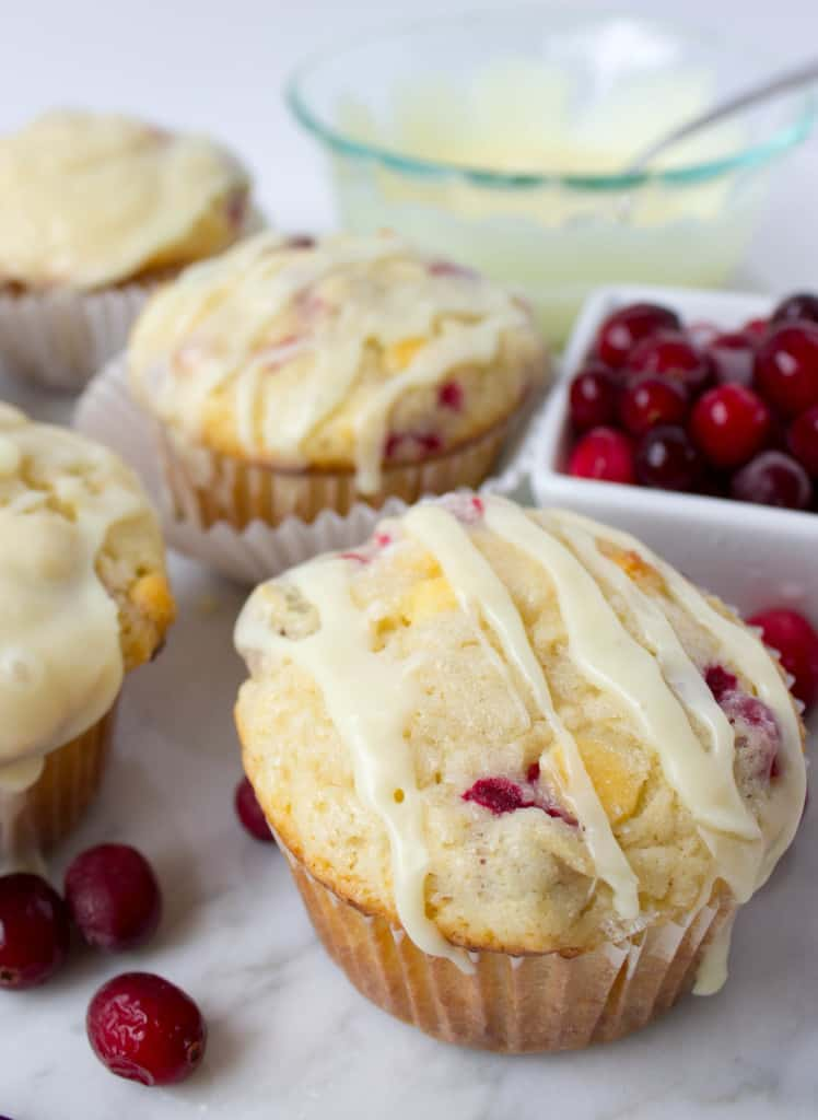 Cranberry White Chocolate Muffins with glaze