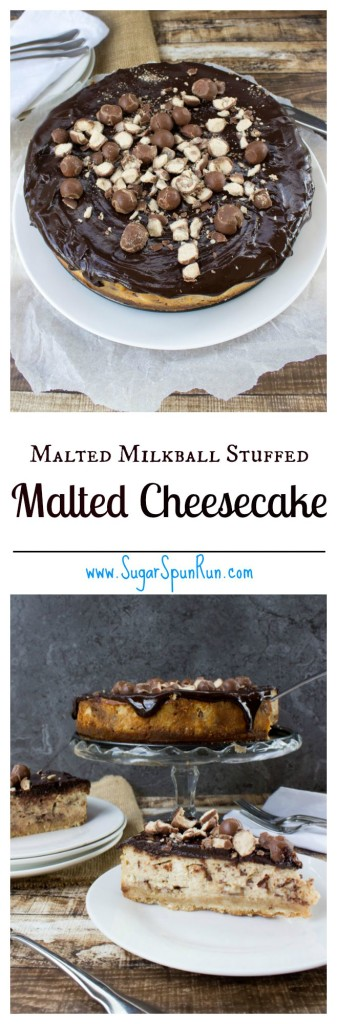 Whopper candy stuffed malted cheesecake www.SugarSpunRun.com