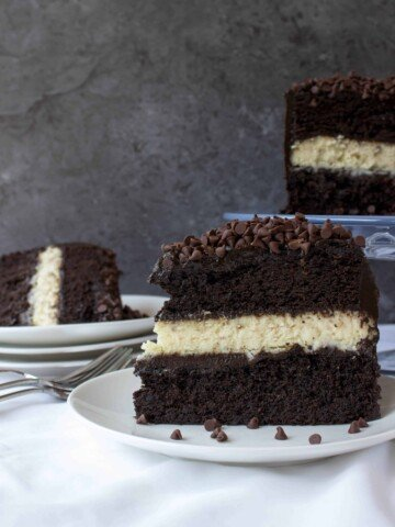 slice of chocolate cake with cheesecake filling