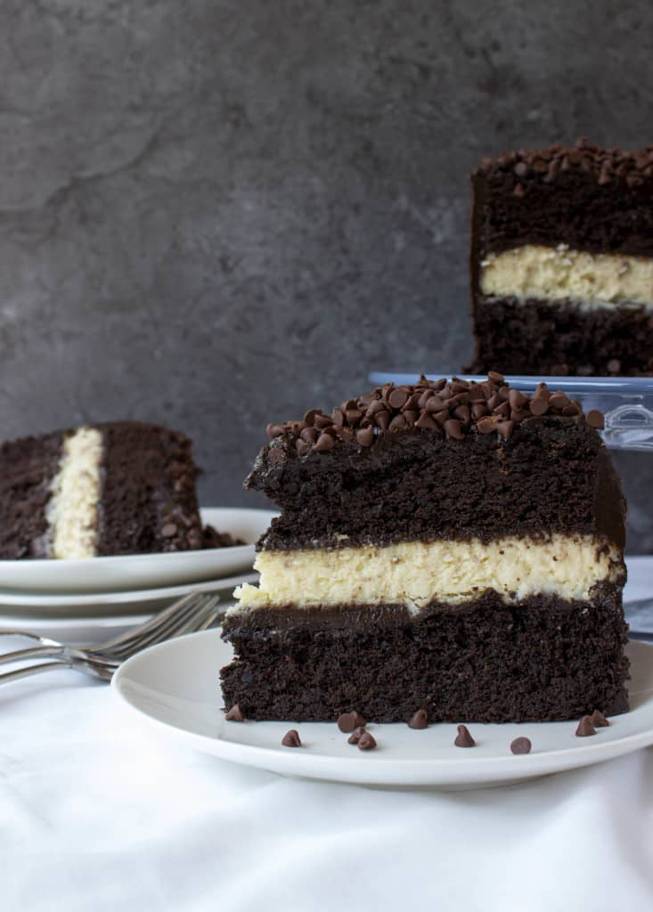 Cheesecake Stuffed Dark Chocolate Cake with Dark Chocolate Frosting