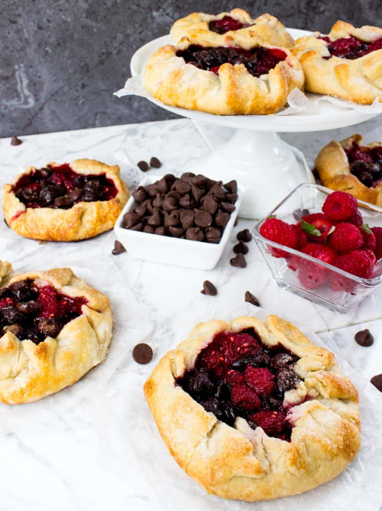 Mini Chocolate Raspberry Galettes on marble