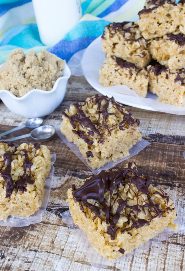 carmelized rice krispie treats, drizzled with chocolate and slightly salted for an amazing salted caramel chocolate rice krispie combo