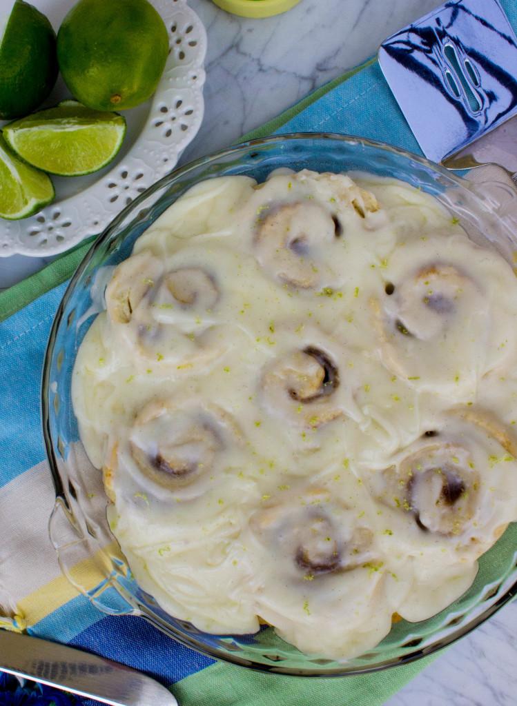 Key Lime Cinnamon Rolls (Easy no-yeast recipe)