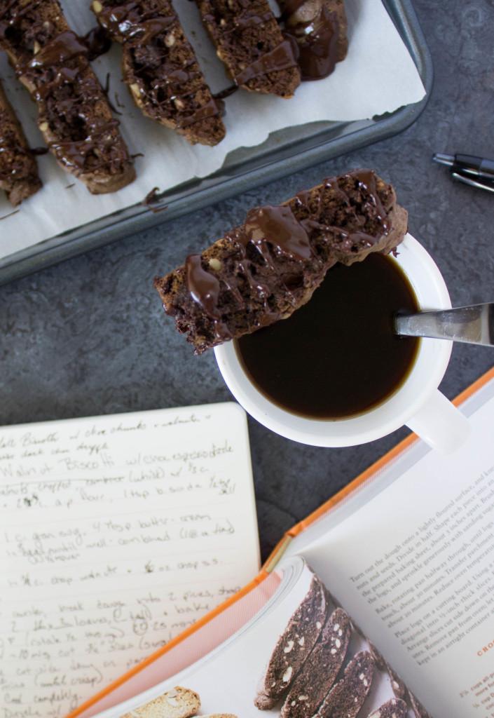 Easy chocolate & walnut biscotti with an espresso-chocolate drizzle