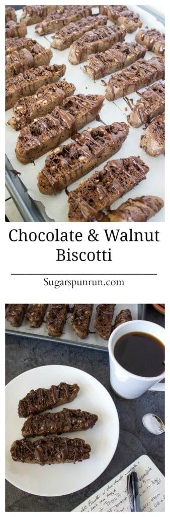 Chocolate and Walnut Biscotti--almost like a brownie biscotti!