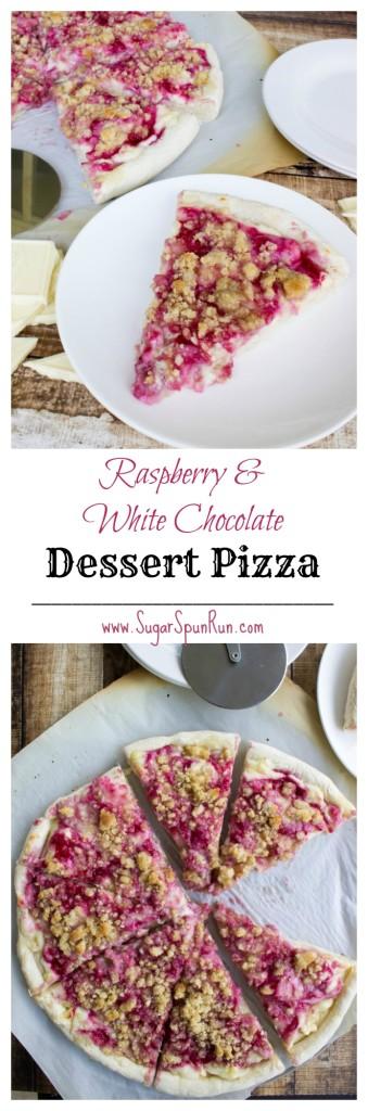 Raspberry White Chocolate Dessert Pizza  from Sugarspunrun.com
