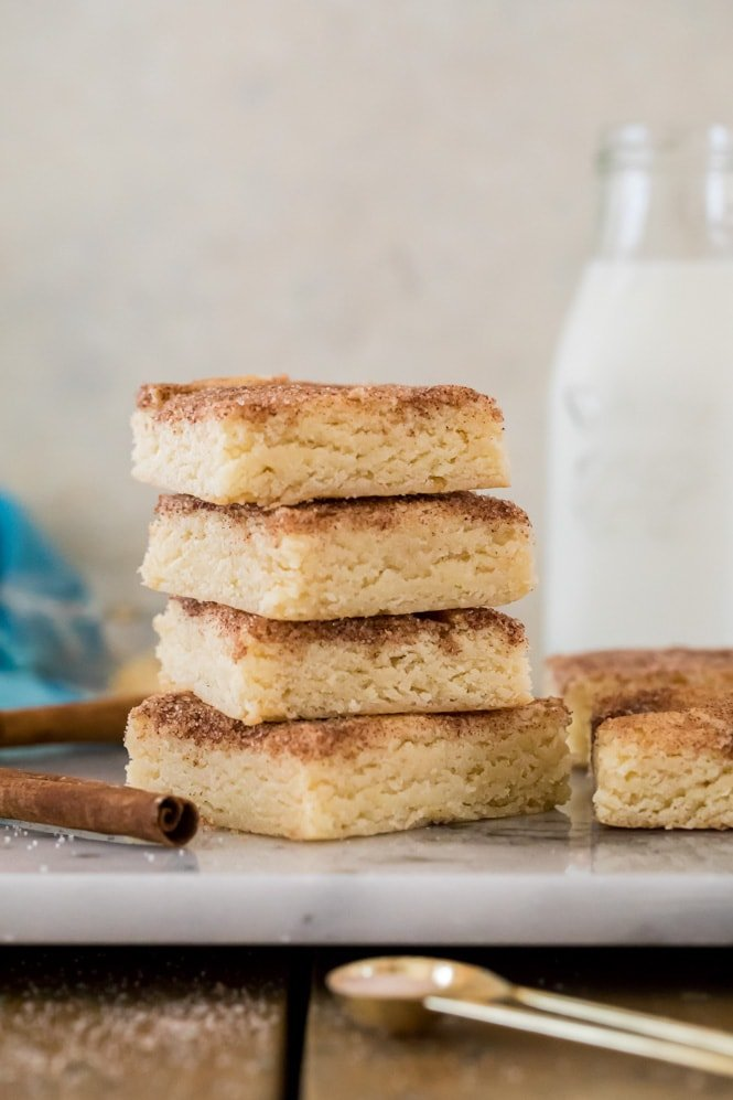 Stack of snickerdoodle blondies to on marble board