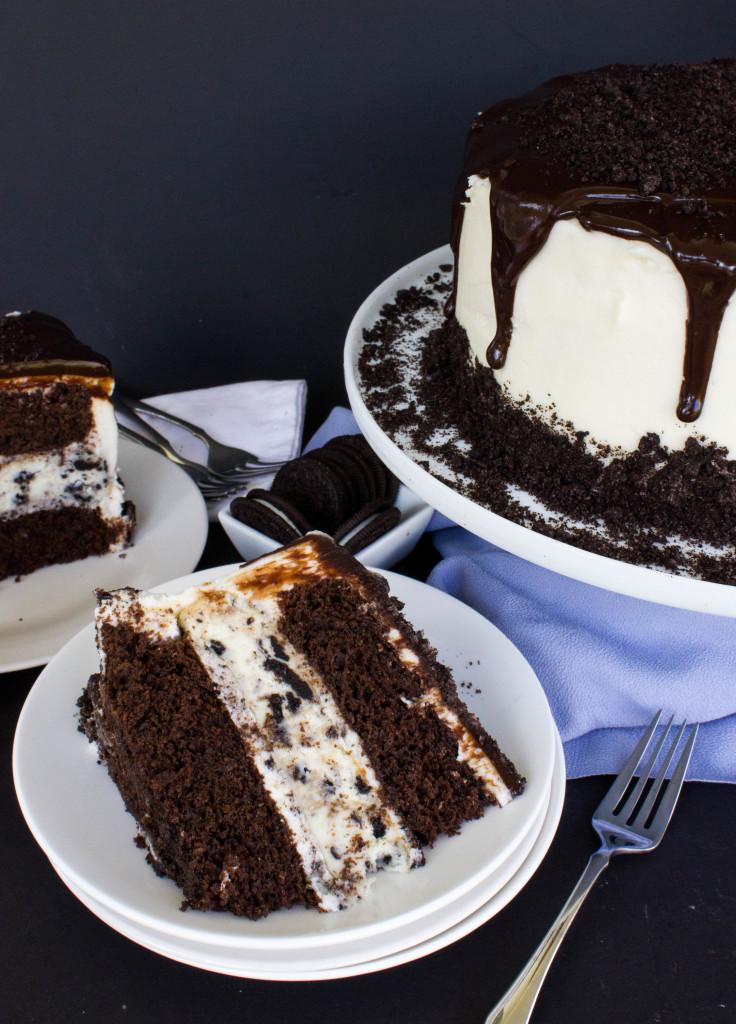 Oreo Cheesecake Stuffed Chocolate Cake