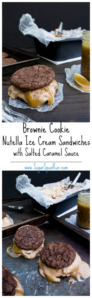 Brownie Cookie Nutella Ice Cream Sandwiches with Salted Caramel SugarSpunRun.com
