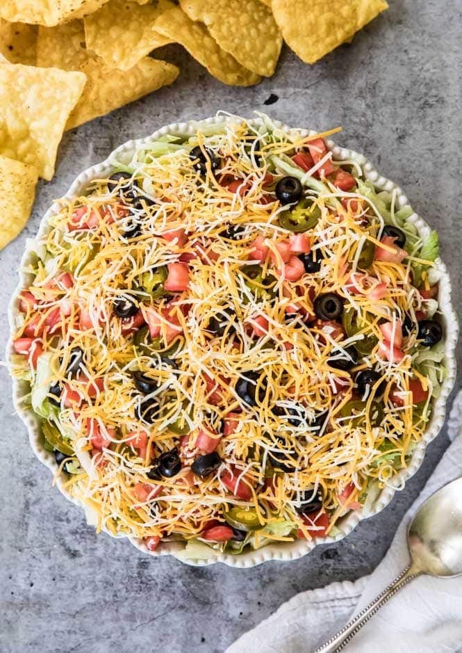 Taco Dip in a pie dish