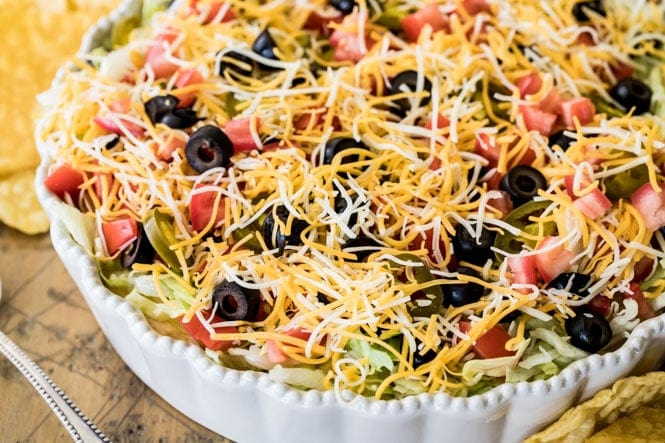 Taco Dip in a serving dish