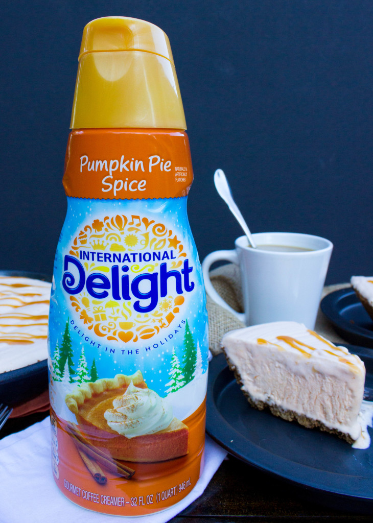 No-churn pumpkin spice flavored ice cream made with International Delight creamer and frozen over a gingersnap crust.