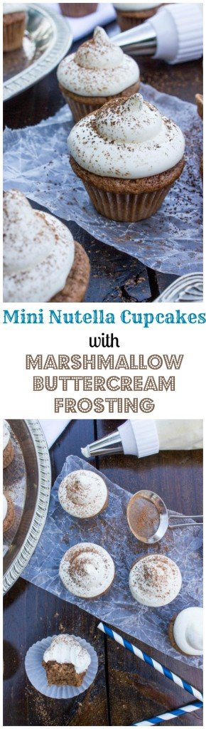 Soft, fluffy nutella mini cupcakes with a thick marshmallow buttercream frosting-- so easy! SugarSpunRun