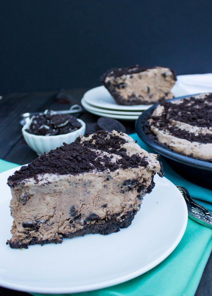 Cookies & Cream Mocha Ice Cream Pie slice on white plate