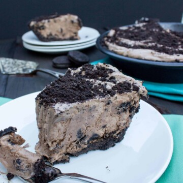 slice of mocha ice cream pie