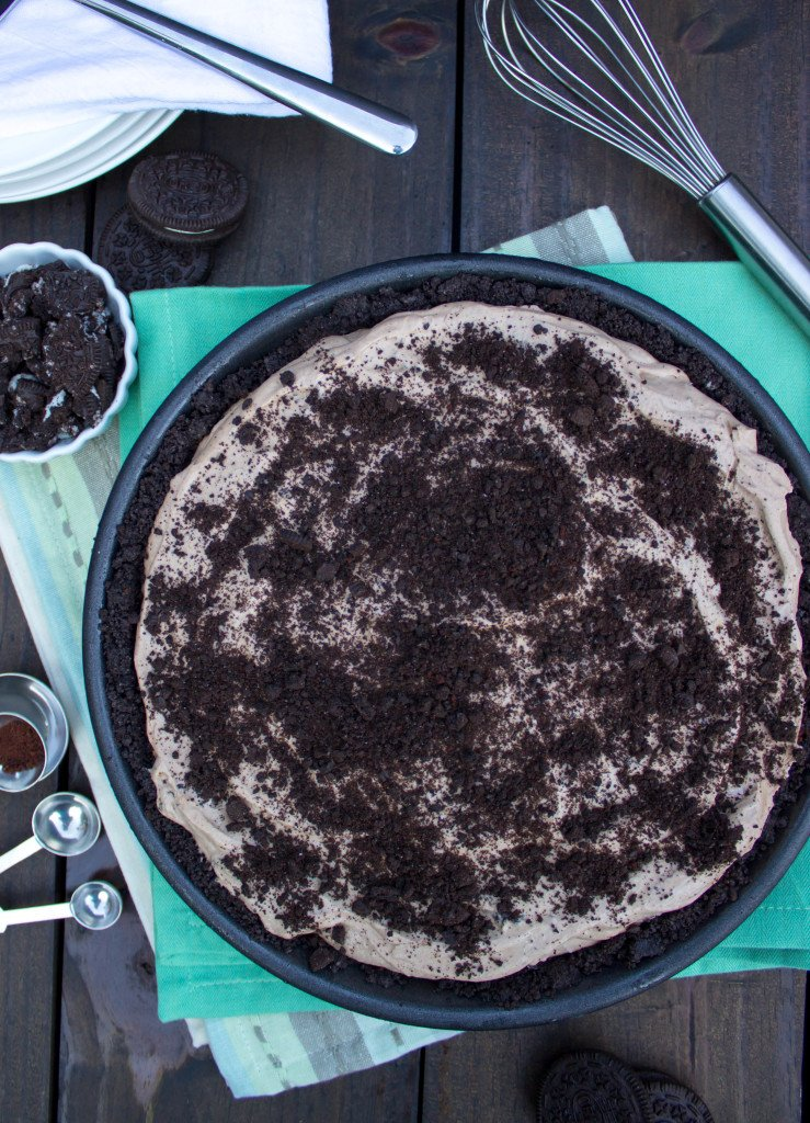 Overhead of Cookies & Cream Mocha Ice Cream Pie