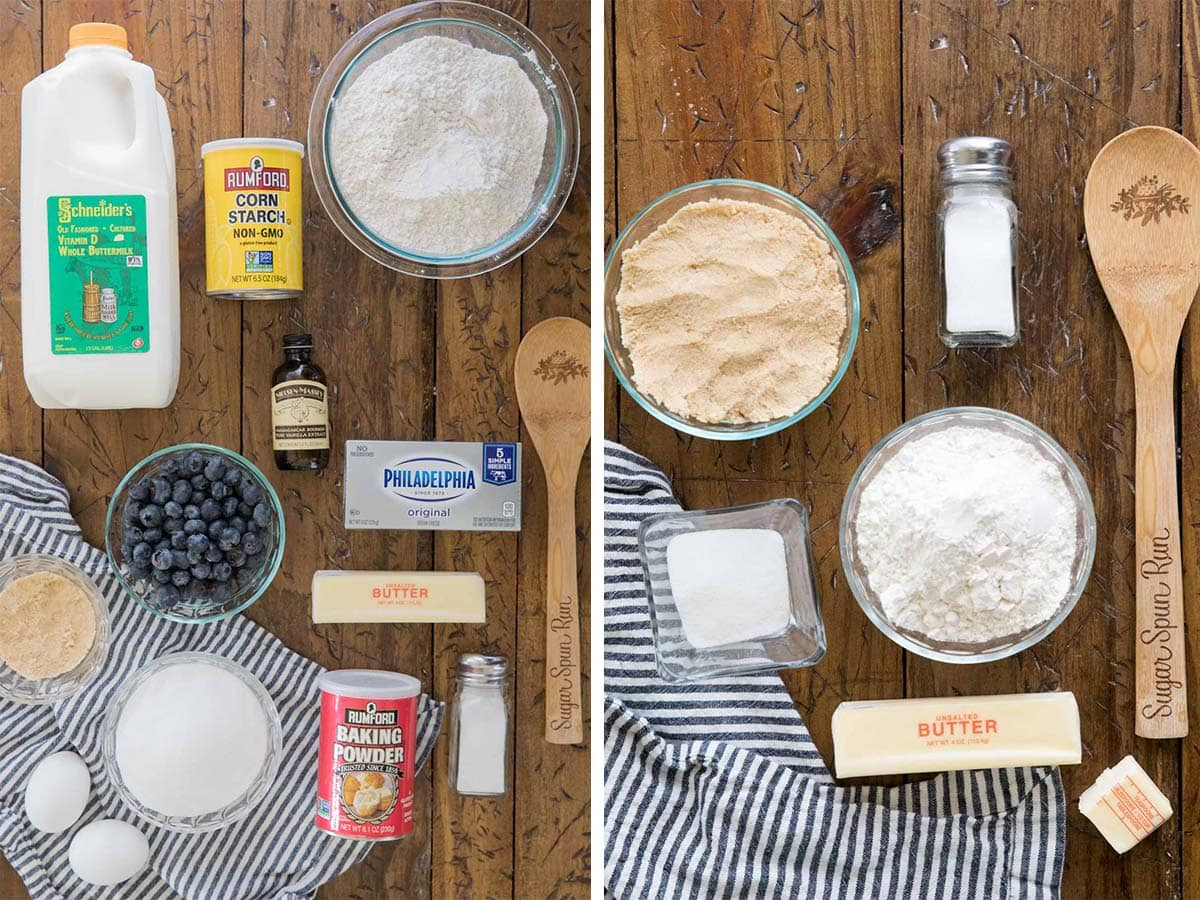 two photos: blueberry cake ingredients (left) streusel ingredients (right)