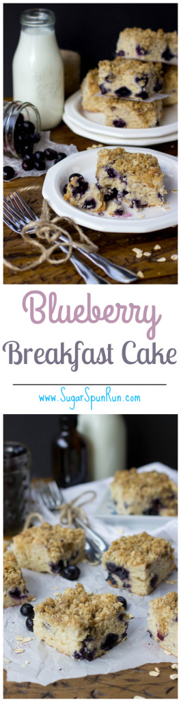 Blueberry Breakfast Cake -- great for a breakfast or brunch potluck SugarSpunRun.com