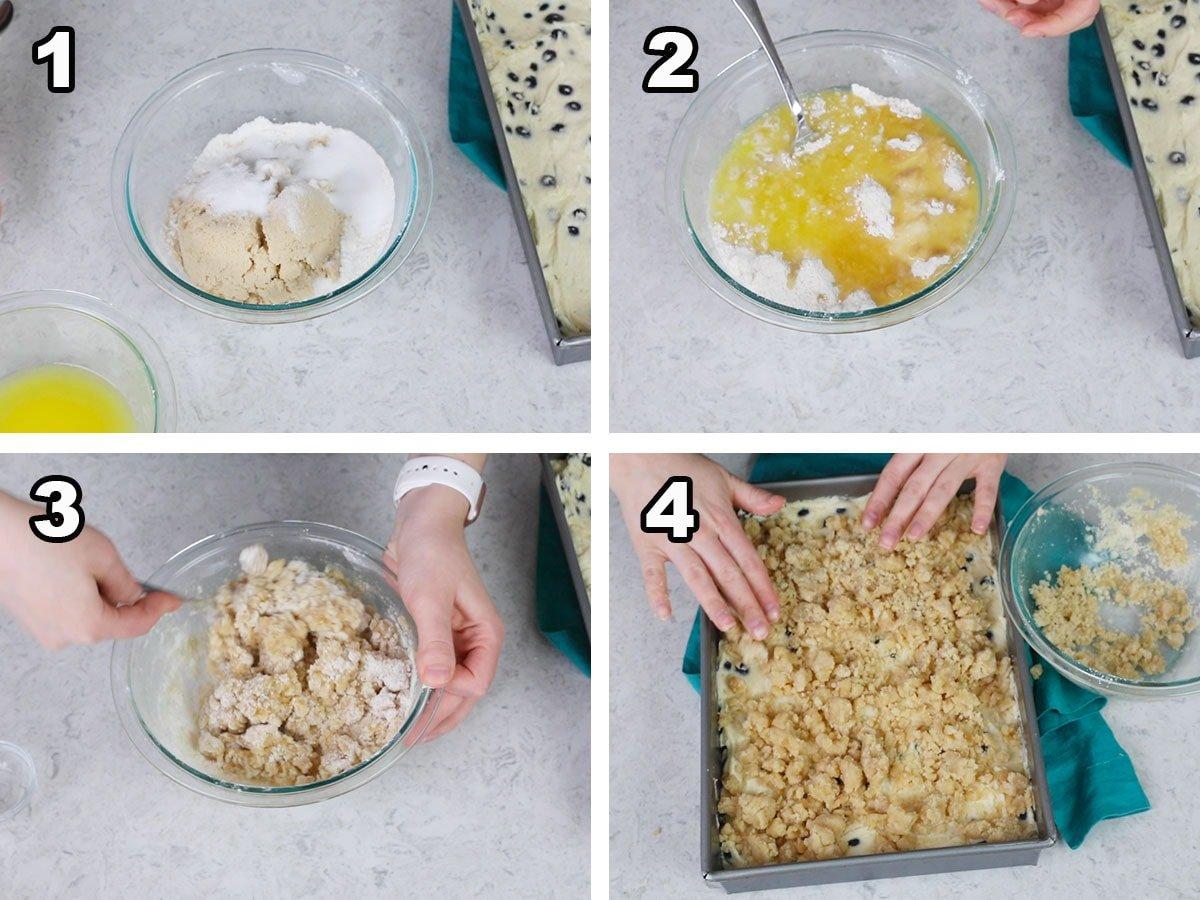 collage of preparing streusel