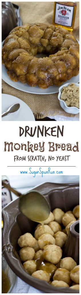 Drunken Monkey Bread made from scratch--you can also leave out the bourbon and make it non-alcoholic, though I think the alcohol cooks out SugarSpunRun