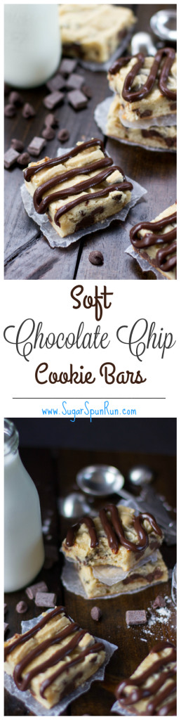 Super soft chocolate chip cookie bars made with cream cheese SugarSpunRun.com