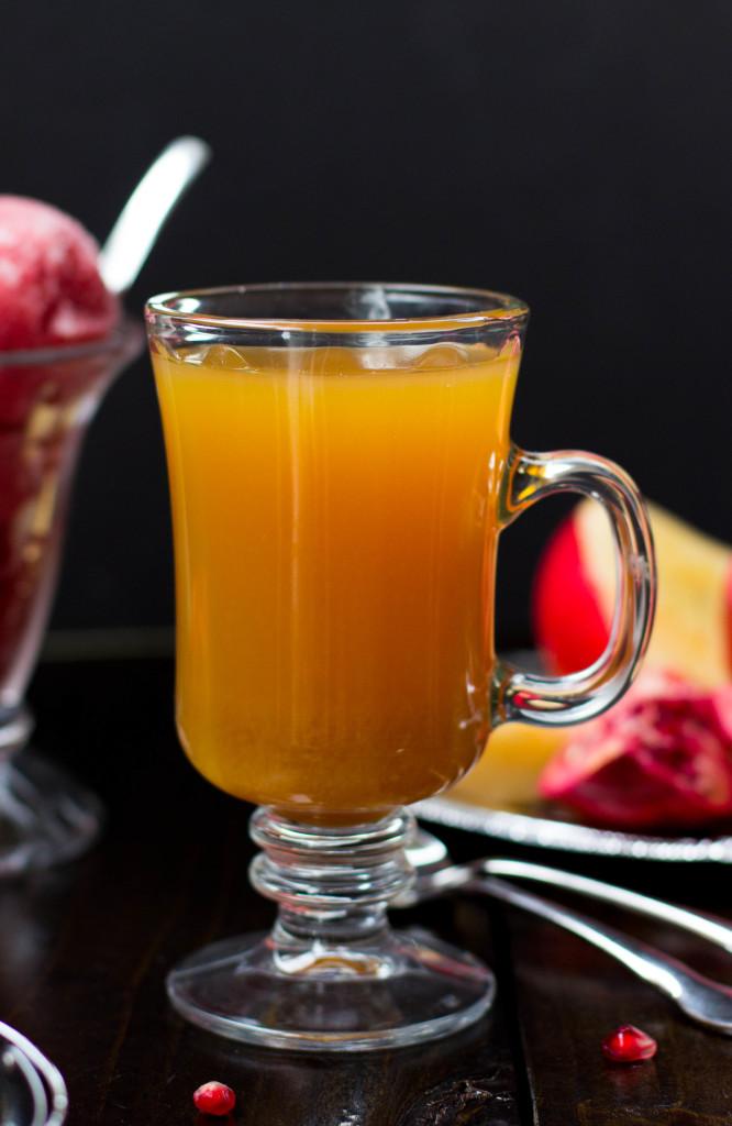 Pomegranate Apple Cider Sorbet    SugarSpunRun.com