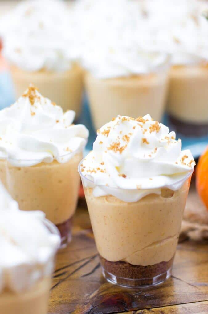 pumpkin pie dessert shooter with whipped cream