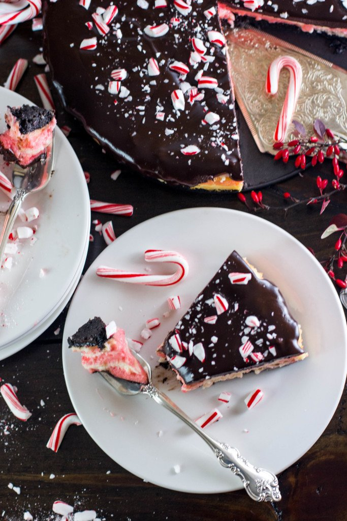 Candy Cane Cheesecake -- Red and white striped cheesecake with a dark chocolate ganache