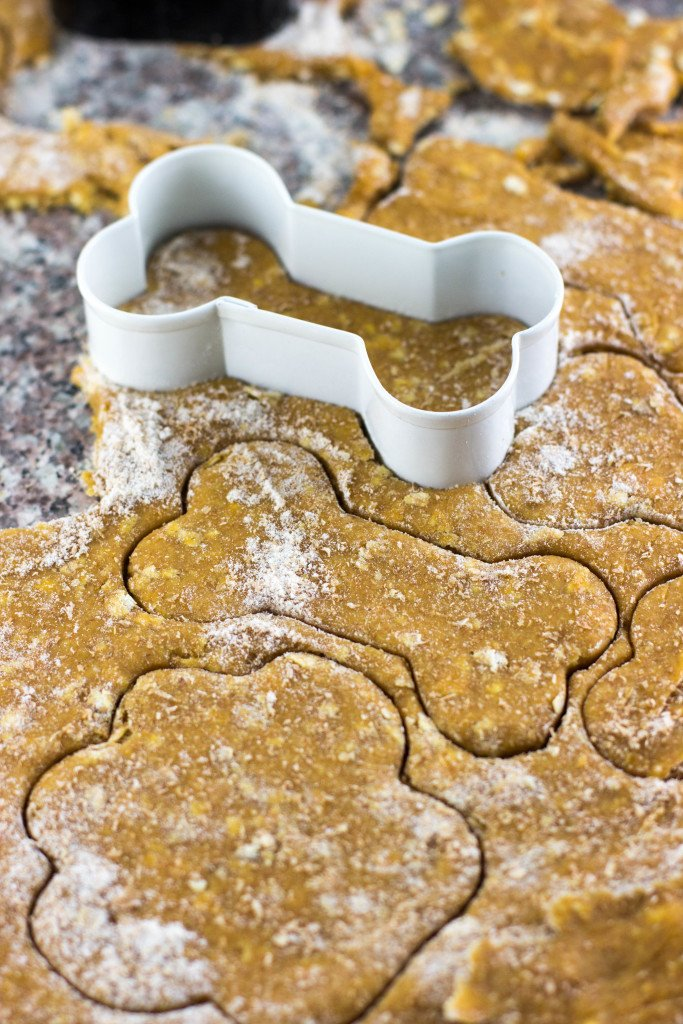 cutting out dog cookie dough with bone cookie cutter