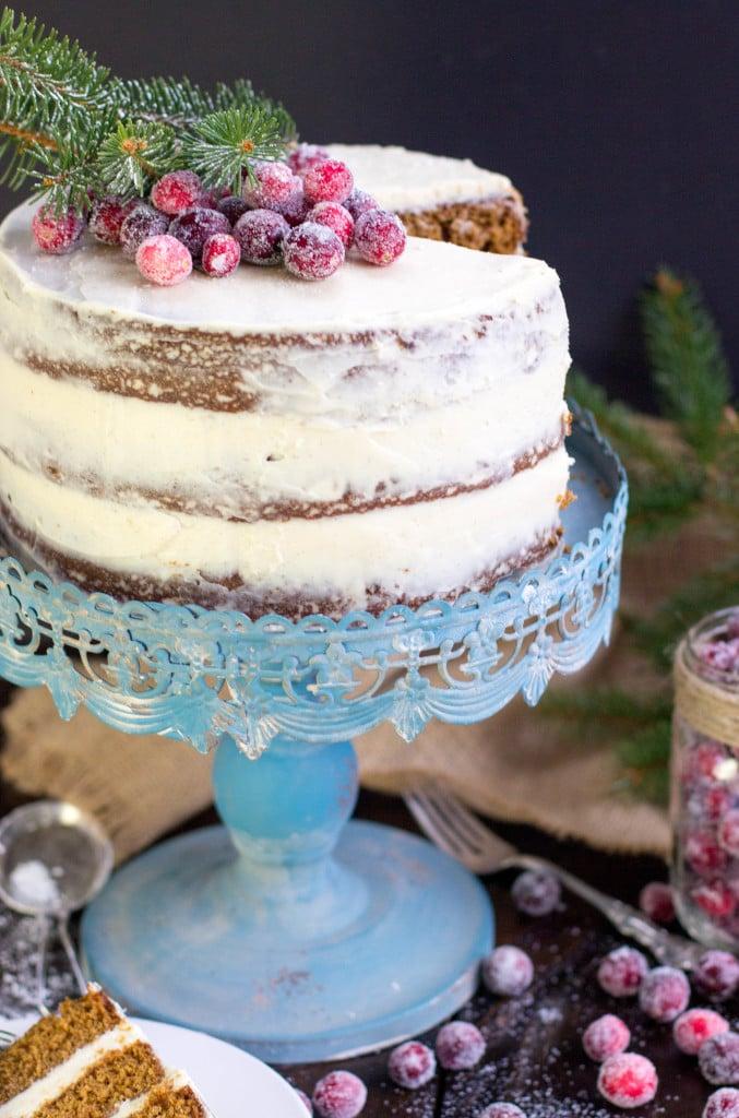 cake on blue cake stand
