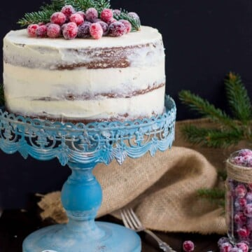 Gingerbread cake on a blue cake stand