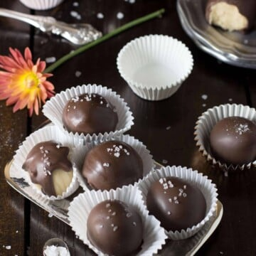 Salted caramel buttercream candies covered in chocoalte