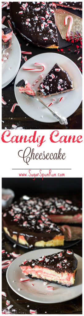 Candy Cane Cheesecake--striped red and white and on a chocolate cookie crust--so good!