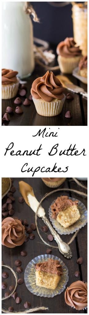 Mini Peanut Butter Cupcakes with Milk Chocolate Buttercream -- www.SugarSpunRun.com