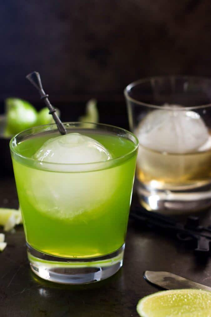 Midori sour in glass