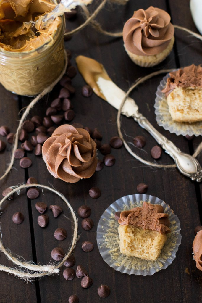 peanut butter cupcakes with milk chocolate frosting
